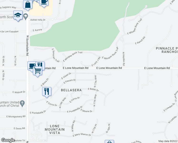 map of restaurants, bars, coffee shops, grocery stores, and more near 7702 East Visao Drive in Scottsdale