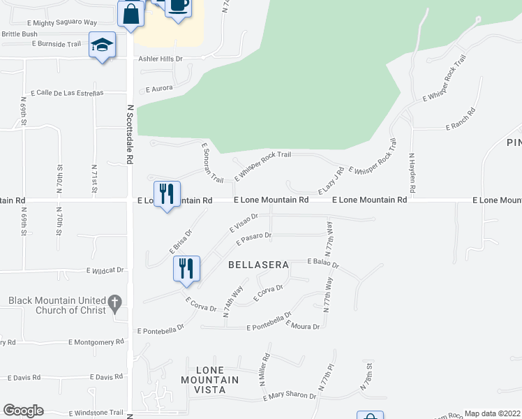map of restaurants, bars, coffee shops, grocery stores, and more near 7582 East Visao Drive in Scottsdale
