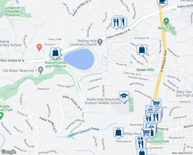 map of restaurants, bars, coffee shops, grocery stores, and more near 2237 Carriage Drive in Rolling Hills Estates