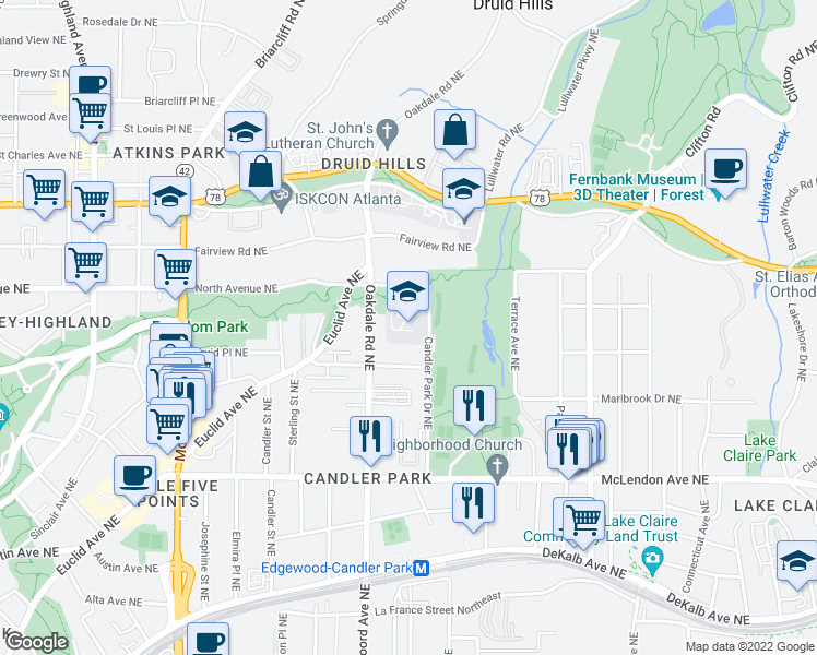 map of restaurants, bars, coffee shops, grocery stores, and more near 586 Candler Park Drive Northeast in Atlanta