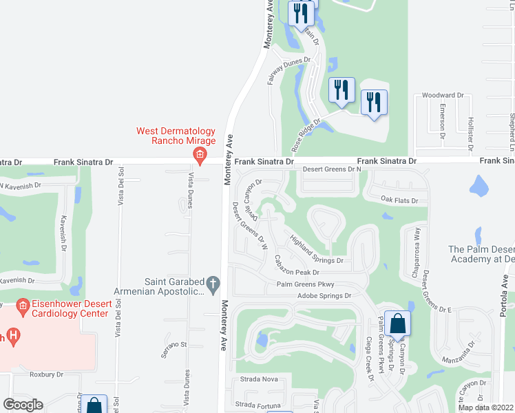 map of restaurants, bars, coffee shops, grocery stores, and more near 73091 Ridge Circle in Palm Desert