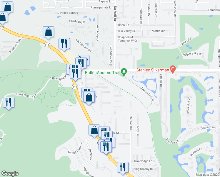 map of restaurants, bars, coffee shops, grocery stores, and more near 69975 Frank Sinatra Drive in Rancho Mirage