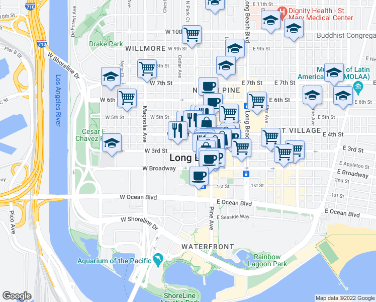 map of restaurants, bars, coffee shops, grocery stores, and more near 202-228 West Roble Way in Long Beach