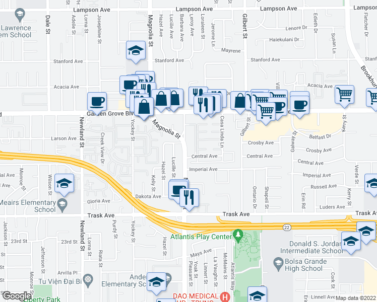 map of restaurants, bars, coffee shops, grocery stores, and more near 13112 Magnolia Street in Garden Grove