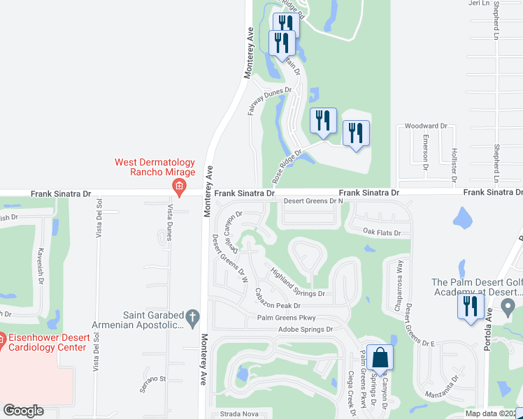 map of restaurants, bars, coffee shops, grocery stores, and more near 38121 Boulder Creek Drive in Palm Desert