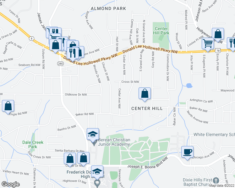 map of restaurants, bars, coffee shops, grocery stores, and more near 606 Cedar Avenue Northwest in Atlanta