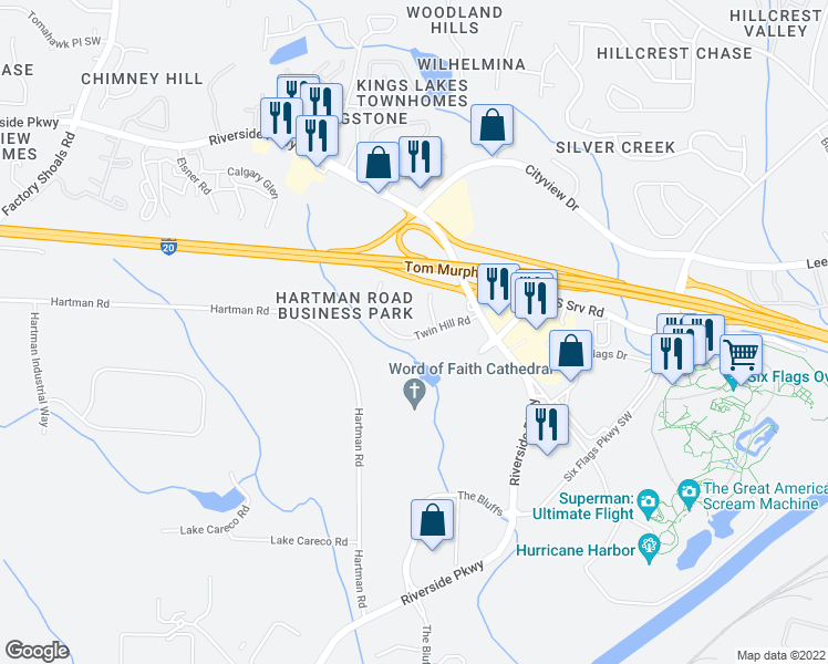 map of restaurants, bars, coffee shops, grocery stores, and more near 214 Twin Hill Road in Austell