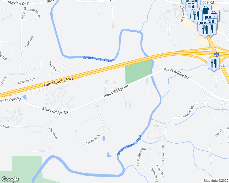 map of restaurants, bars, coffee shops, grocery stores, and more near Blairs Bridge Road in Lithia Springs