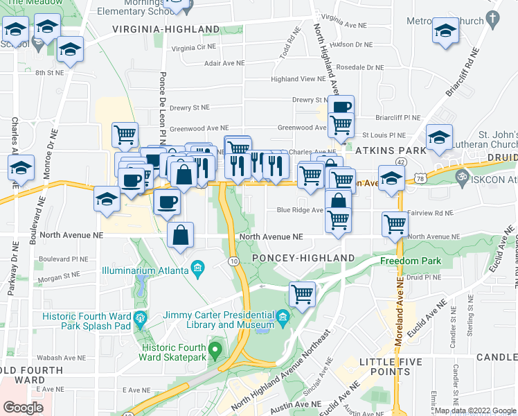 map of restaurants, bars, coffee shops, grocery stores, and more near 664 Linwood Avenue Northeast in Atlanta