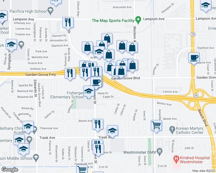 map of restaurants, bars, coffee shops, grocery stores, and more near 7051 Natal Drive in Westminster