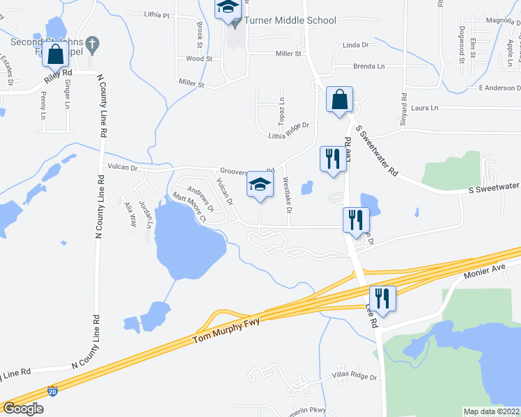 map of restaurants, bars, coffee shops, grocery stores, and more near 2548 Vulcan Drive in Lithia Springs