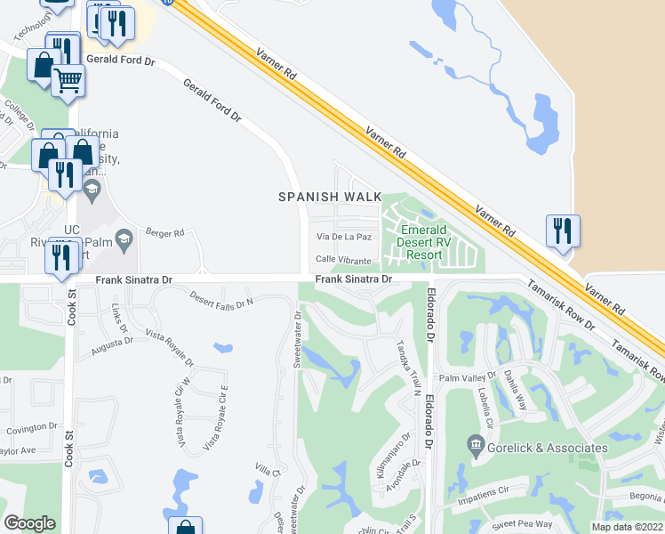 map of restaurants, bars, coffee shops, grocery stores, and more near 641 Calle Vibrante in Palm Desert