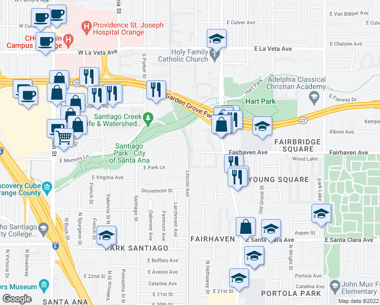 map of restaurants, bars, coffee shops, grocery stores, and more near 1201 Fairhaven Avenue in Santa Ana
