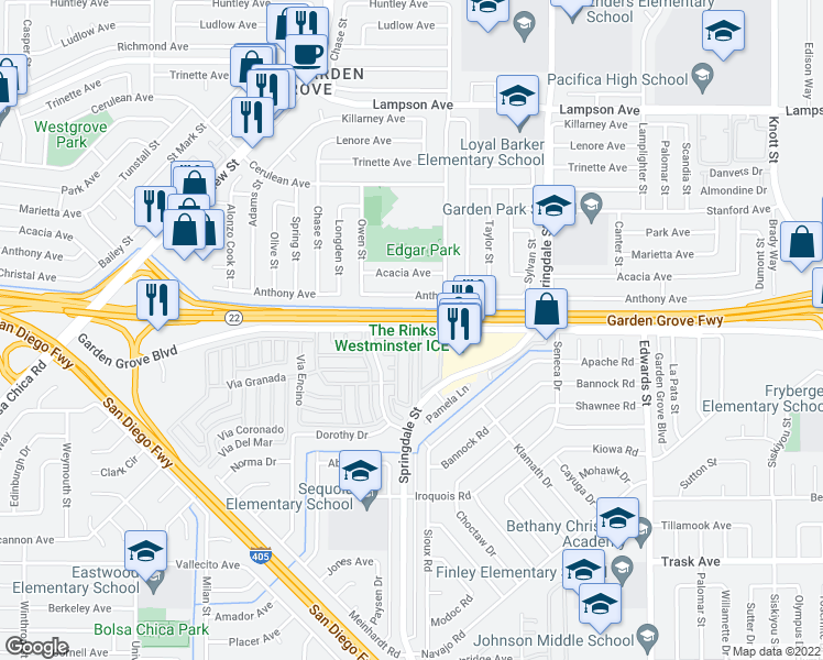 map of restaurants, bars, coffee shops, grocery stores, and more near 6069-6083 West Garden Grove Boulevard in Westminster