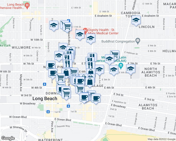 map of restaurants, bars, coffee shops, grocery stores, and more near 521 East 6th Street in Long Beach