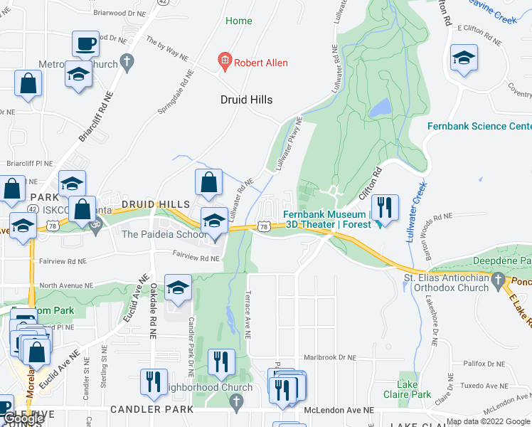map of restaurants, bars, coffee shops, grocery stores, and more near 1 Lullwater Estate Northeast in Atlanta