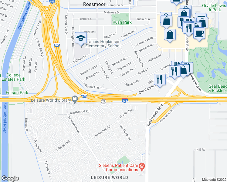map of restaurants, bars, coffee shops, grocery stores, and more near 2922 Druid Lane in Los Alamitos