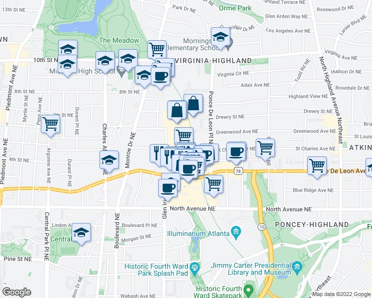 map of restaurants, bars, coffee shops, grocery stores, and more near 650 Ponce De Leon Avenue Northeast in Atlanta