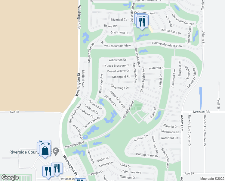 map of restaurants, bars, coffee shops, grocery stores, and more near 78264 Grape Arbor Avenue in Palm Desert