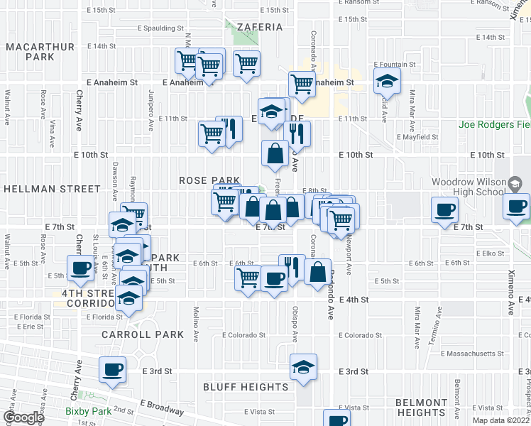 map of restaurants, bars, coffee shops, grocery stores, and more near 736 Orizaba Avenue in Long Beach
