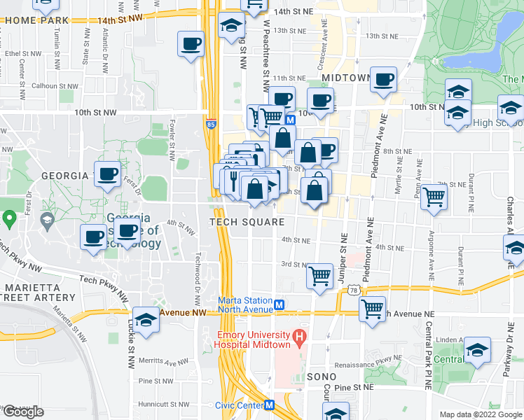map of restaurants, bars, coffee shops, grocery stores, and more near 800 West Peachtree Street Northwest in Atlanta