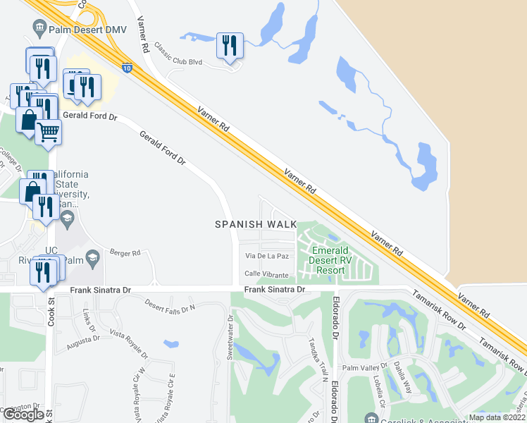 map of restaurants, bars, coffee shops, grocery stores, and more near 213 Paseo Gregario in Palm Desert
