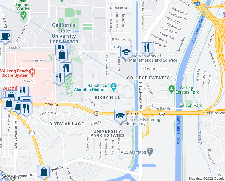 map of restaurants, bars, coffee shops, grocery stores, and more near 6400 E Bixby Hill Rd in Long Beach