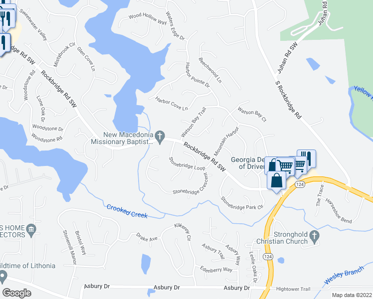 map of restaurants, bars, coffee shops, grocery stores, and more near 634 Ridge Way in Lithonia