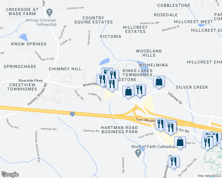 map of restaurants, bars, coffee shops, grocery stores, and more near 377-395 Six Flags Drive in Austell