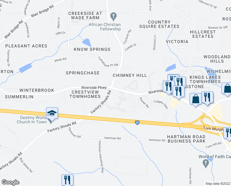 map of restaurants, bars, coffee shops, grocery stores, and more near 668-686 Six Flags Drive in Austell