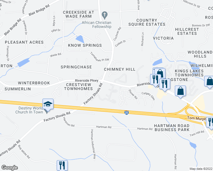 map of restaurants, bars, coffee shops, grocery stores, and more near in Austell