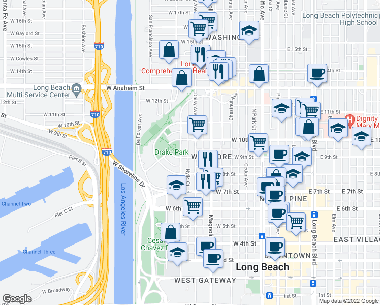 map of restaurants, bars, coffee shops, grocery stores, and more near 913 Daisy Avenue in Long Beach