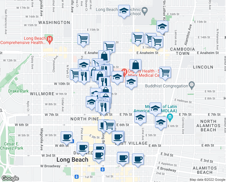 map of restaurants, bars, coffee shops, grocery stores, and more near 909 Elm Avenue in Long Beach