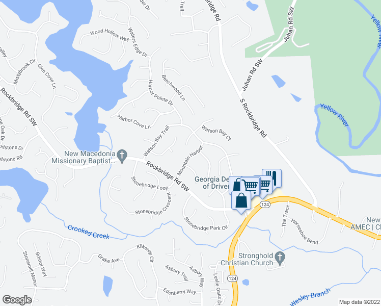 map of restaurants, bars, coffee shops, grocery stores, and more near 601 Mountain Harbor in Stone Mountain