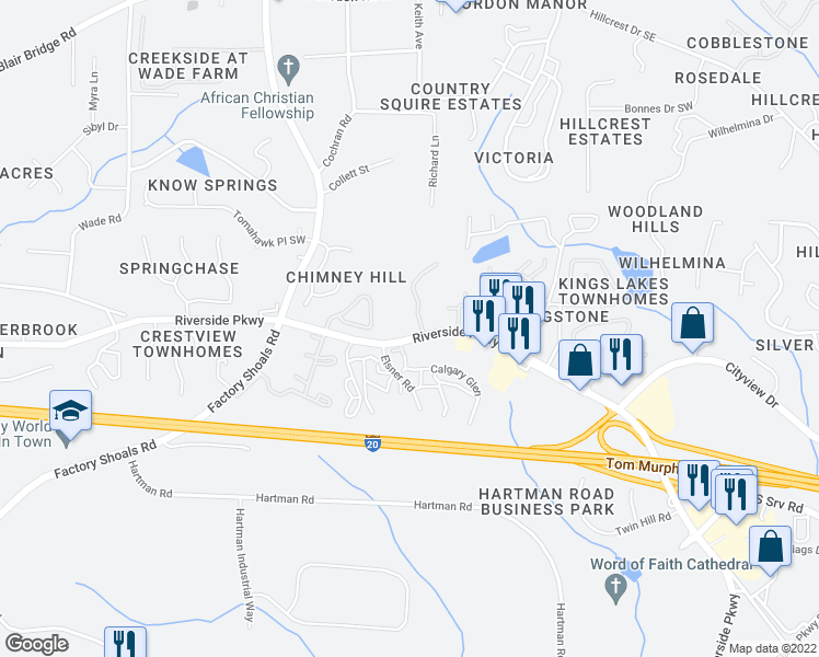 map of restaurants, bars, coffee shops, grocery stores, and more near 506-528 Six Flags Drive in Austell