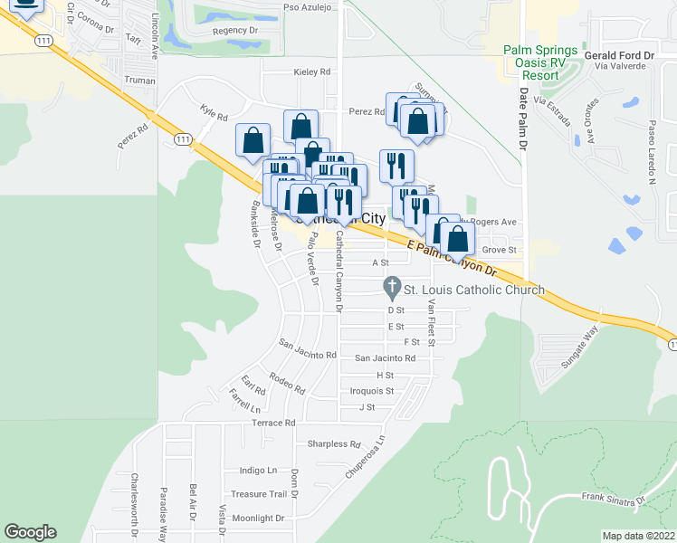 map of restaurants, bars, coffee shops, grocery stores, and more near Cathedral Canyon Dr & Kings Rd in Cathedral City