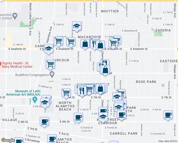 map of restaurants, bars, coffee shops, grocery stores, and more near 1735 East 10th Street in Long Beach