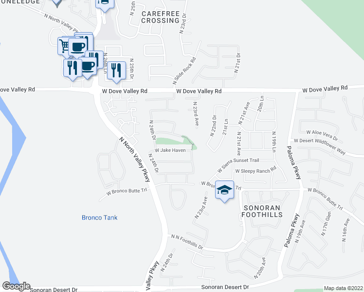map of restaurants, bars, coffee shops, grocery stores, and more near 2338 West Jake Haven in Phoenix