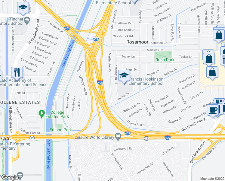 map of restaurants, bars, coffee shops, grocery stores, and more near 12602 Martha Ann Drive in Los Alamitos