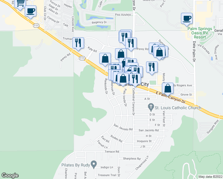 map of restaurants, bars, coffee shops, grocery stores, and more near 36947 Melrose Drive in Cathedral City