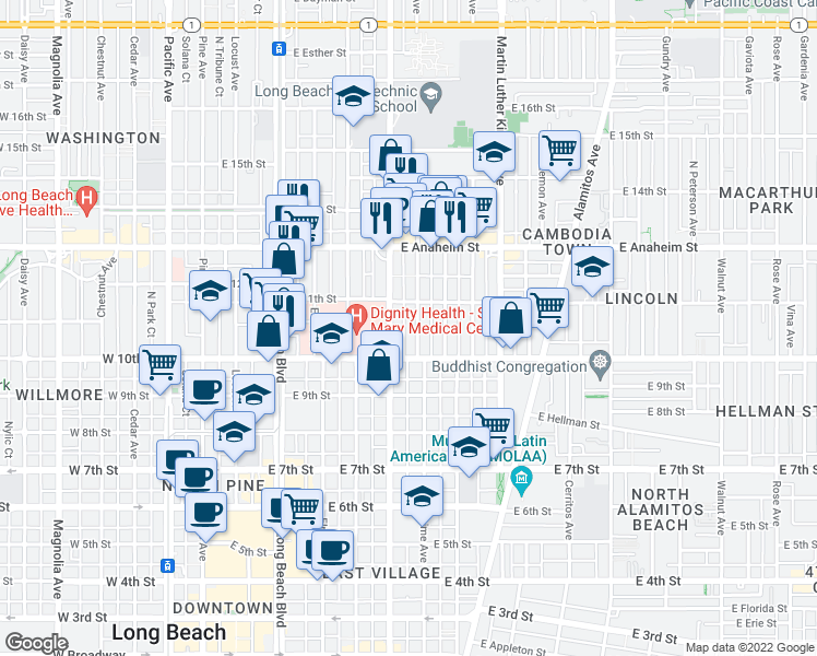 map of restaurants, bars, coffee shops, grocery stores, and more near 1051 Lime Avenue in Long Beach