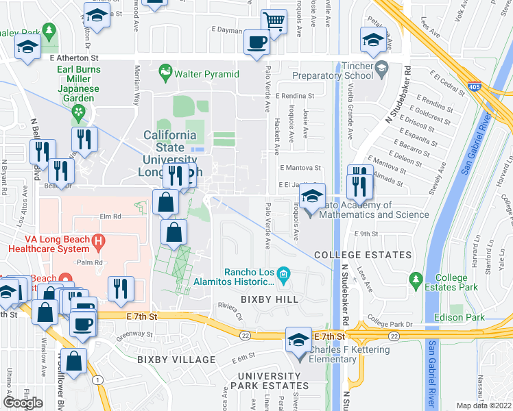 map of restaurants, bars, coffee shops, grocery stores, and more near 1025 Palo Verde Avenue in Long Beach