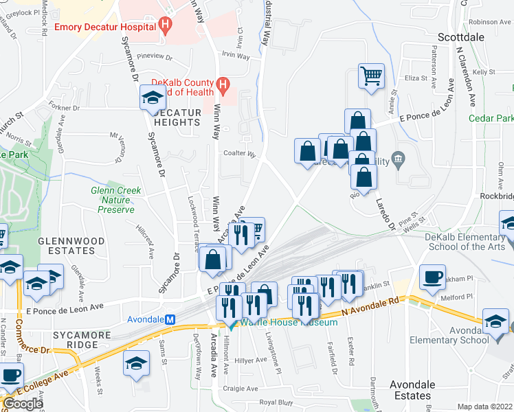 map of restaurants, bars, coffee shops, grocery stores, and more near Grayson Place in Decatur