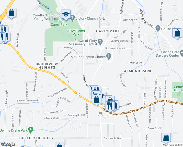map of restaurants, bars, coffee shops, grocery stores, and more near English Manor Apartments in Atlanta