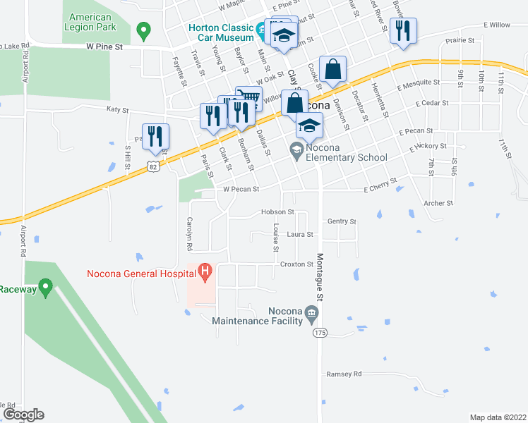 map of restaurants, bars, coffee shops, grocery stores, and more near Hobson Street in Nocona