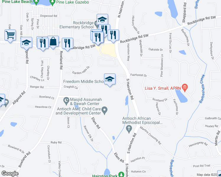 map of restaurants, bars, coffee shops, grocery stores, and more near 505 South Hairston Road in Stone Mountain
