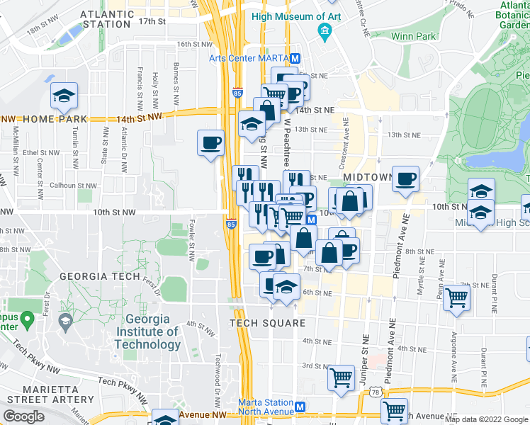 map of restaurants, bars, coffee shops, grocery stores, and more near Spring St NW & 10th St NW in Atlanta