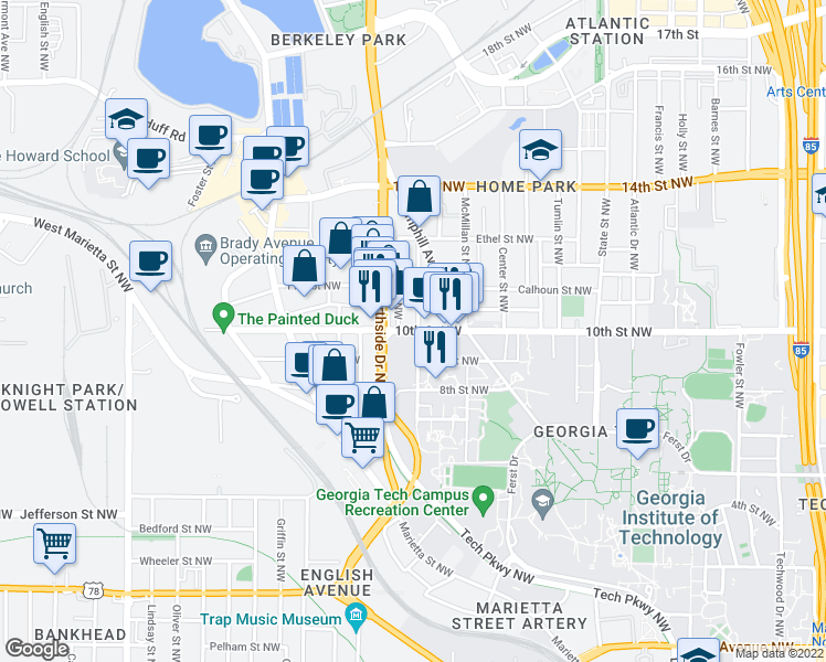 map of restaurants, bars, coffee shops, grocery stores, and more near 596 10th Street Northwest in Atlanta