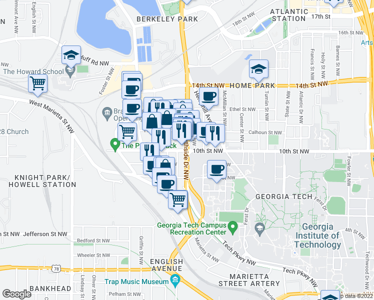 map of restaurants, bars, coffee shops, grocery stores, and more near 630 10th Street Northwest in Atlanta