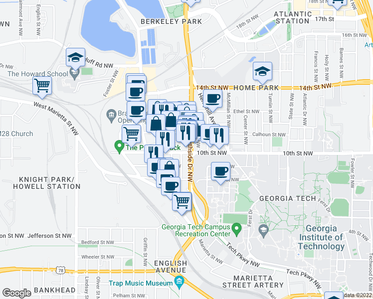 Map Of Restaurants Bars Coffee Shops Grocery Stores And More Near 1000